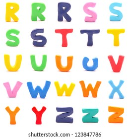 """plasticine letters standing on white background (3 of 3 - from """"r"""" to """"z"""")"""
