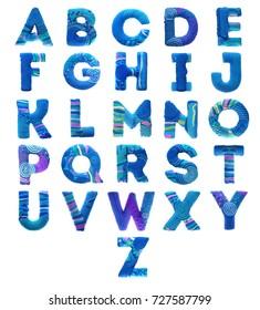 Plasticine letters, volumetric, in marine or winter style, for children's design
