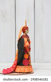 Plasticine modelling clay. Figure of russian woman. Developing activities, creative idea, hobby, art. Plasticine art sculpture. Sculpts from plasticine modelling clay. Black Swan, plasticine Firebird