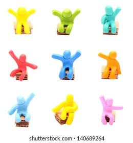plasticine people set - sitting on paper chairs