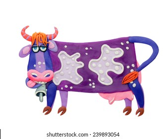 plasticine purple cow with white spots