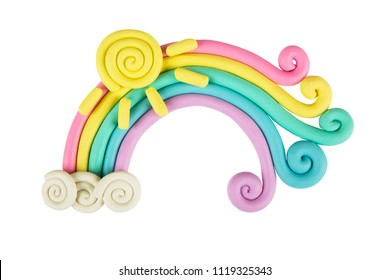 Plasticine rainbow pastel color isolated on white background