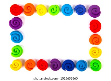 Plasticine set isolated on white .Rainbow color