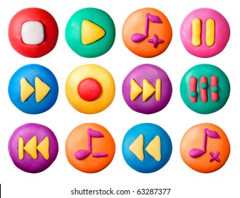 Plasticine toy buttons set isolated on white background.