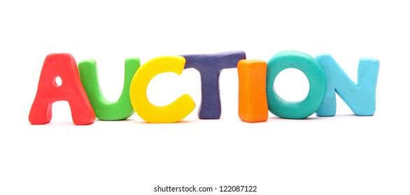 plasticine web words isolated on white : AUCTION