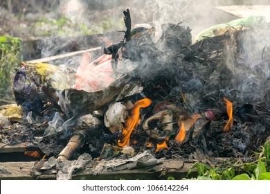Plastics and polystyrene wastage burning