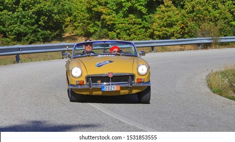 PLASTIRAS LAKE, GREECE, SEPTEMBER 27, 2019. Classic british car MG MGB of 1972, during a classic rally at lake Plastiras in central Greece.