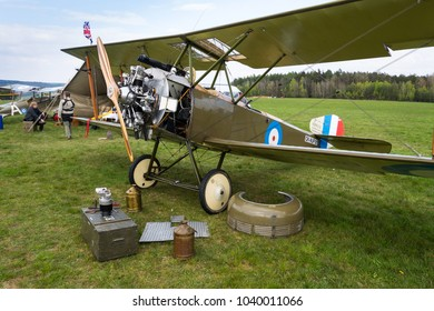 PLASY, CZECH REPUBLIC - APRIL 30 2017: British biplane aircraft from First World War Sopwith Strutter replica stands on airport on April 30, 2017 in Plasy, Czech Republic.