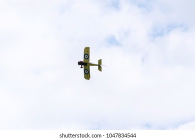 PLASY, CZECH REPUBLIC - APRIL 30 2017: British biplane aircraft from First World War Sopwith Strutter replica flying on April 30, 2017 in Plasy, Czech Republic.