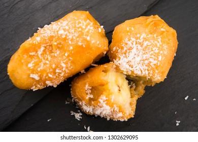 Plate with banana in tempura