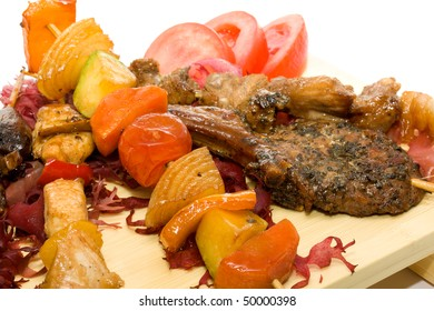 Plate BBQ meat and vegetables