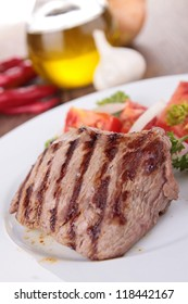 plate of beef grilled