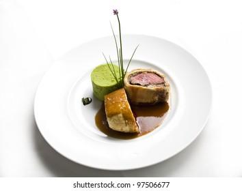 Plate with beef wellington, beef wellington steak