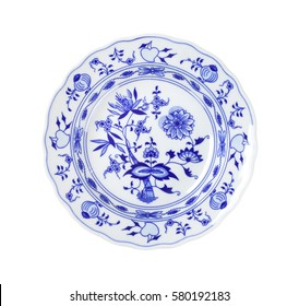 Plate with blue onion pattern