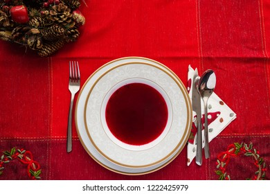 a plate of borscht at the Christmas table