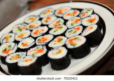 Plate of California sushi rice rolls