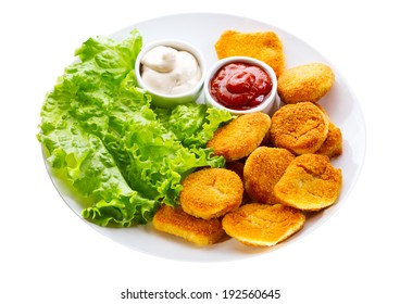 plate of chicken nuggets isolated on white background