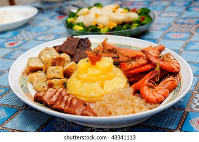 Plate of Chinese dish with variety of ingredients