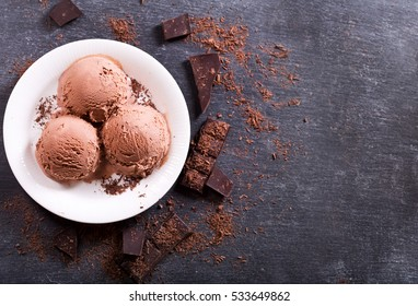 plate of chocolate ice cream scoops on dark background, top view copy space.