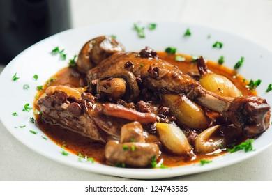 """Plate of """"coq au vin"""""""