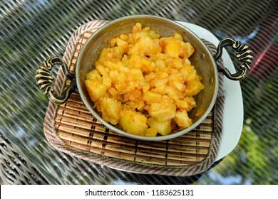 Plate of country-style sautéed potatoes on the Black Sea coast of Turkey.