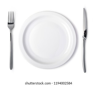 plate and cutlery isolated on white background