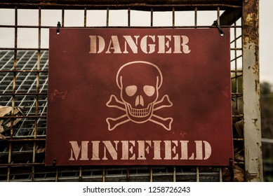 Plate Danger minefield. Photo plate Danger minefield