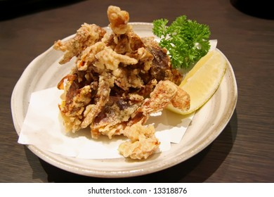 Plate of deep fried soft shell crab