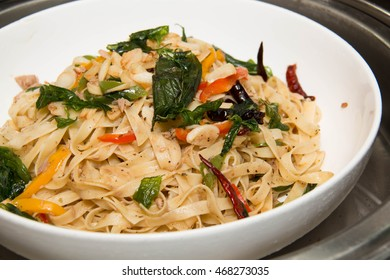 Plate of delicious healthy Asian  Pasta with  chilly