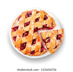 Plate with delicious homemade cherry pie on white background