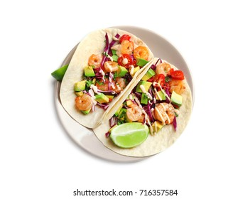 Plate with delicious shrimp tacos, isolated on white