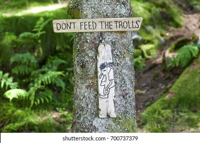 The plate: Don't feed the trolls in forest in Norway.