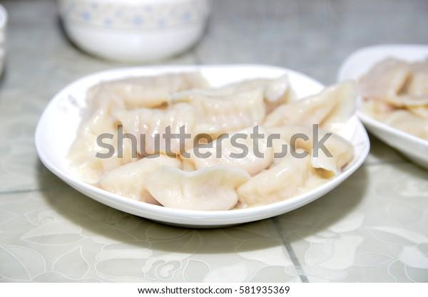 A plate of dumplings