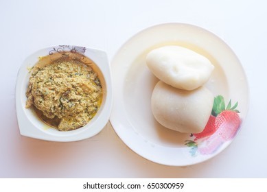 A plate of Egusi and fufu