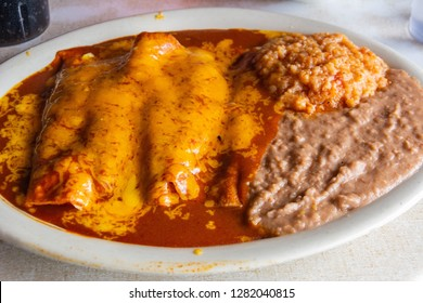 Plate of Enchiladas dish popular in Mexico and American Southwest.
