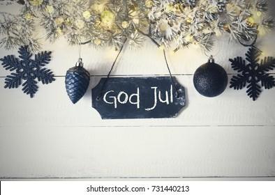 Plate, Fairy Light, God Jul Means Merry Christmas