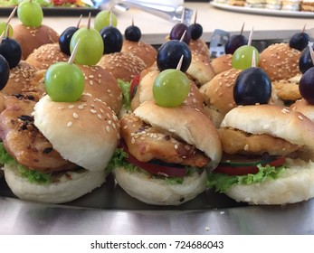 Plate of food chicken burger.Catering.