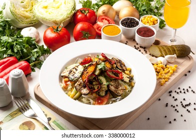 plate food salad and salt pepper tomato