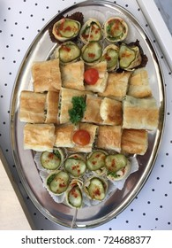 Plate of food snacks.Buffet table.Catering.