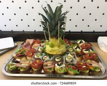 Plate of food snacks.Buffet table.Catering.Canapes.