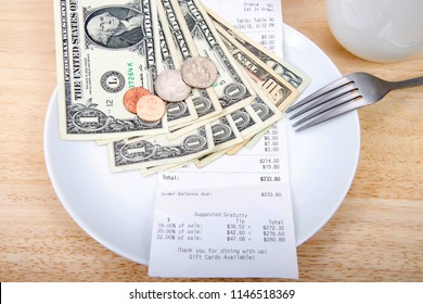Plate with fork upside down indicating finished with meal, mug beside, bill receipt on plate with suggested gratuities listed on the bottom of the receipt. U.S. money laying on plate bills and coins.