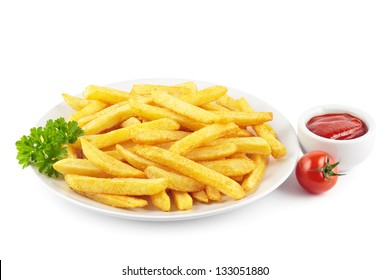Plate of French fries with a bowl of ketchup on white