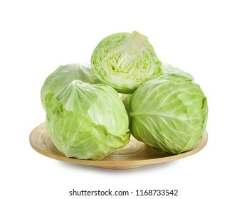 Plate with fresh cabbage on white background