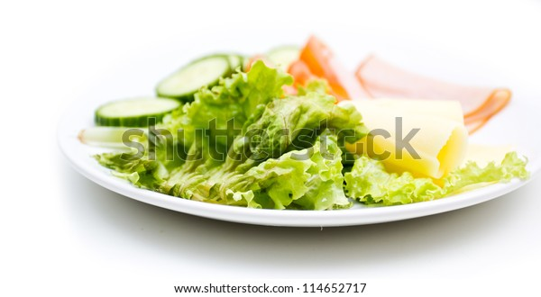 A plate with fresh GI food isolated on white background