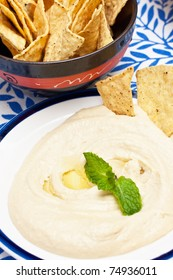 a plate with fresh hummus libanese food