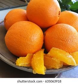 Plate of Fresh Navel Oranges