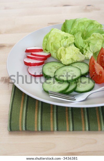 plate of fresh vegetables - tomatoes cucumber radish and lettuce