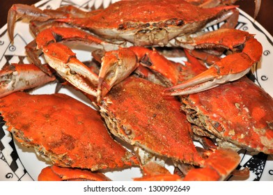 A plate of freshly steamed Maryland Blue Crabs.