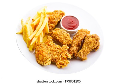 plate of fried chicken isolated on white background