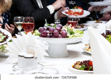 Plate full of fresh fruits on a festive table